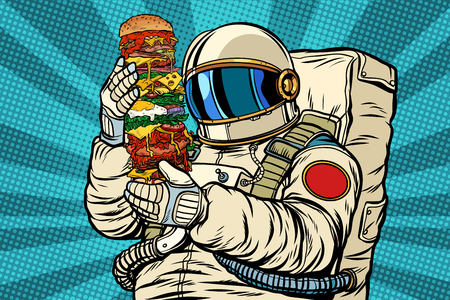 Astronaut with a giant burger