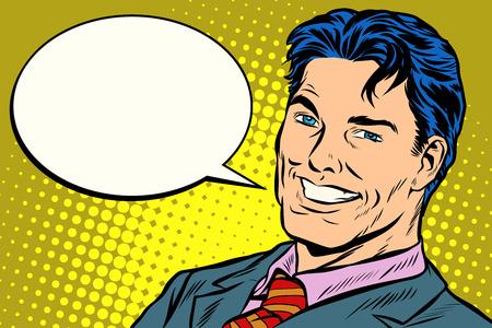 bulle de bande dessinée de discours homme d & # 39; affaires souriant Vecteurs