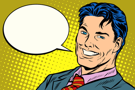 lachende zakenman toespraak strips zeepbel Vector Illustratie