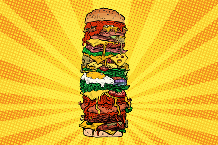 Huge Burger tower. Street fast food Illustration