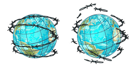 set planet earth in barbed wire and without Archivio Fotografico - 102791611