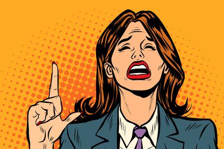 mujer llorando apuntando hacia arriba. Arte pop retro ilustración vectorial dibujo kitsch vintage