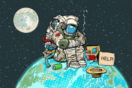 Poor hungry astronaut on planet earth. Pop art retro vector illustration vintage kitsch drawing