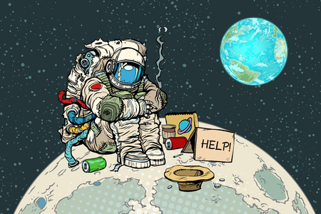 Poor hungry astronaut on the moon. Pop art retro vector illustration vintage kitsch drawing
