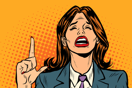 crying woman pointing up. Pop art retro vector illustration vintage kitsch drawing Stock Photo