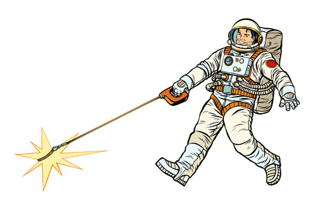 Astronaut and pet star, isolate on white background. Pop art retro vector illustration kitsch vintage drawing Illusztráció
