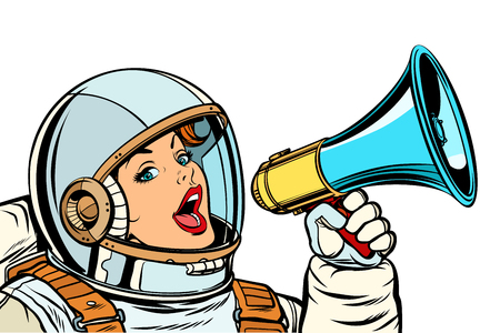 woman astronaut with megaphone isolate on white background. Pop art retro vector illustration kitsch vintage drawing Illustration