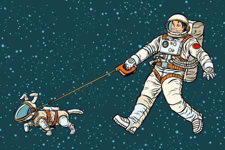 astronaut walking dog in a space suit. Pop art retro vector illustration kitsch vintage drawing