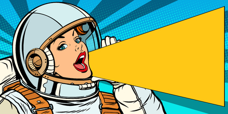female astronaut is calling for a sale. Pop art retro vector illustration kitsch vintage drawing Archivio Fotografico - 102980193