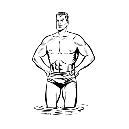 Man swimmer in swimming trunks. black and white outline Imagens - 103069278