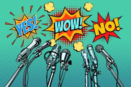 Fondo de micrófonos de conferencia de prensa, sí no wow