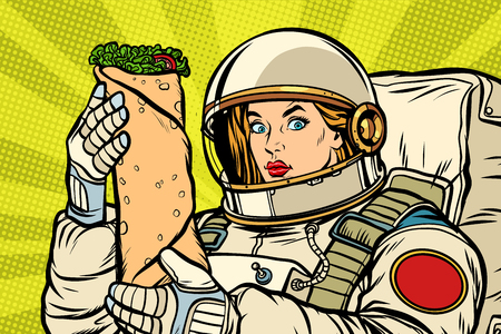Hungry woman astronaut with Shawarma kebab