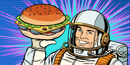 Smiling male astronaut presents Burger