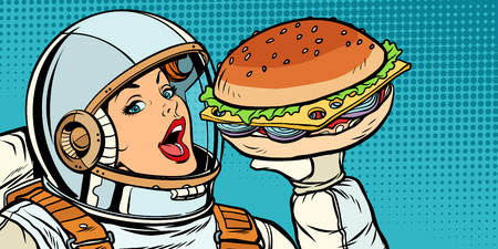 Hungry woman astronaut eating Burger