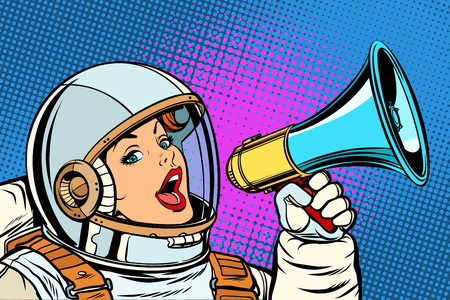 mujer de fondo de arte pop con megáfono