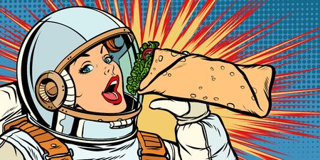 Hungry woman astronaut eating kebab Doner Shawarma Stock Illustratie