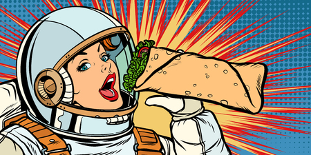 Hungry woman astronaut eating kebab Doner Shawarma Illustration