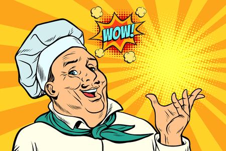 Cook Chef man presentation gesture. Pop art retro vector illustration kitsch vintage drawing