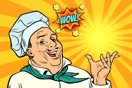 Geste de présentation de l'homme Cook Chef. Pop art retro vector illustration kitsch dessin vintage Vecteurs