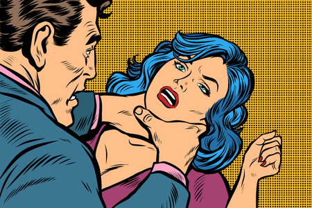 man strangles a woman. Pop art retro vector illustration kitsch drawing Иллюстрация