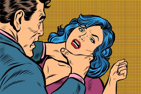 Mann erwürgt eine Frau. Pop-Art-Retro-Vektorillustrations-Kitschzeichnung