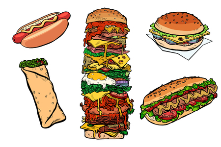 collection set fast food kebab Burger hot dog Shawarma Doner. Pop art retro vector illustration kitsch vintage drawing