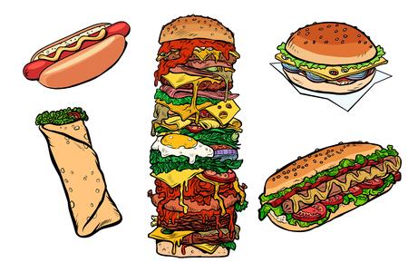 collection set fast food kebab Burger hot dog Shawarma Doner. Pop art retro vector illustration kitsch vintage drawing