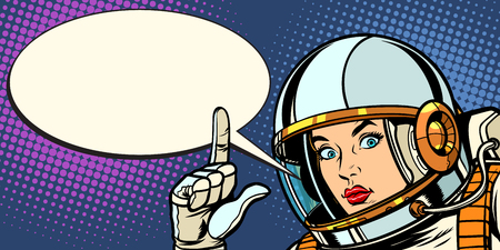 serious astronaut woman pointing up. Pop art retro vector vintage kitsch illustration drawing 일러스트