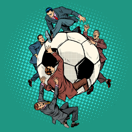 Competition of politicians for football. soccer ball. Pop art retro vector illustration vintage kitsch drawing
