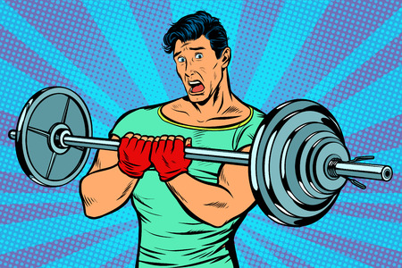 shocked man with a barbell in the gym. Pop art retro vector illustration vintage kitsch drawing