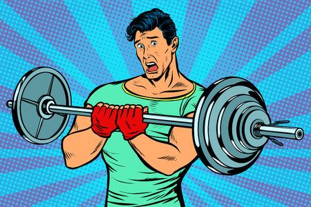 zszokowany mężczyzna ze sztangą na siłowni. Pop-artu retro wektor ilustracja rocznika kicz rysunku