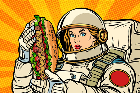 Hungry woman astronaut with hot dog. Pop art retro vector illustration vintage kitsch drawing Illustration
