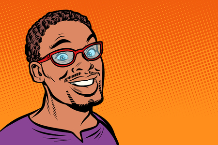 African man smiling. Hipster with glasses. Pop art retro vector illustration kitsch vintage drawing