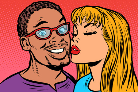 woman kisses a man. multi-ethnic couple. joy smile  イラスト・ベクター素材