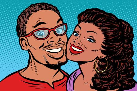 Pareja africana besándose, sonriendo. Dibujo vintage kitsch de ilustración vectorial retro pop art