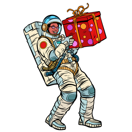 Cosmonaut with gift box. African American people