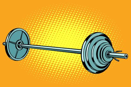 barra, deportes de levantamiento de pesas. Dibujo vintage kitsch de ilustración vectorial retro pop art