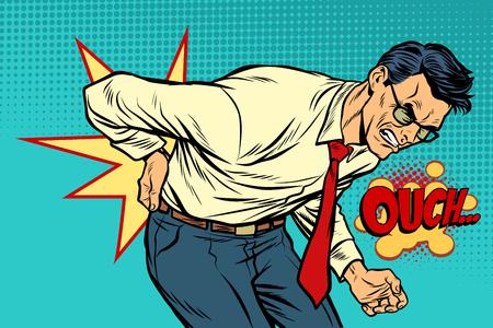 mężczyzna ból pleców, medycyna i zdrowie. Ilustracja wektorowa retro pop-artu, vintage kicz rysunek