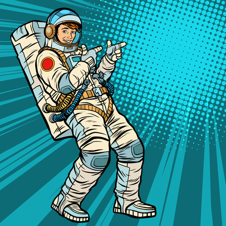 Astronaut young man points Illustration