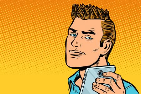 A serious man selfie. Pop art retro vector illustration kitsch vintage drawing Stock Vector - 114806971