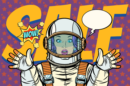 discounts sales woman wow astronaut retro background Illustration