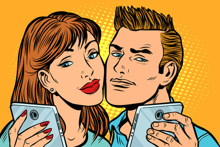young couple selfie on smartphone. Pop art retro vector illustration kitsch vintage drawing Illustration
