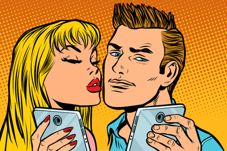 young couple kiss selfie on smartphone. Pop art retro vector illustration kitsch vintage drawing