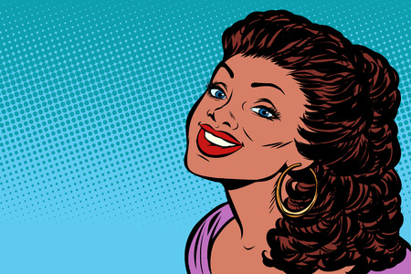 African woman smiling. Pop art retro vector illustration kitsch vintage drawing Illustration