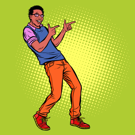 young man points fingers. African American people. Pop art retro vector illustration kitsch vintage drawing  イラスト・ベクター素材