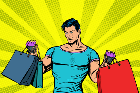 strong muscular man with bags on sale. Pop art retro vector illustration vintage kitsch drawing