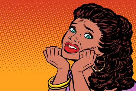 mujer asustada con las manos en la cara. Pueblo afroamericano. Dibujo vintage kitsch de ilustración vectorial retro pop art
