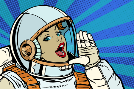woman astronaut calling for help. Pop art retro vector illustration kitsch vintage drawing Illustration