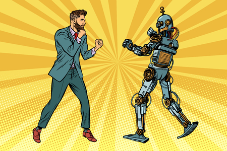 Businessman fighting with a robot. Pop art retro vector illustration kitsch vintage
