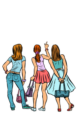 Young women shoppers back. Isolate on a white background. Pop art retro vector illustration kitsch vintage